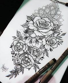 half sleeve tattoo designs and meanings Floral Thigh Tattoos, Rose Tattoos, Leg Tattoos, Body Art Tattoos, Sleeve Tattoos, Lace Flower Tattoos, Tattoo Arm, Tatoos, Pretty Tattoos