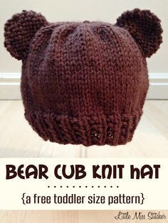 70089da7c2c Bear Cub Knit Hat Pattern For Toddlers - thinking I could do this in black  and