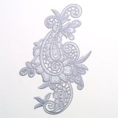 "E645 Gray Paisley Embroidered Iron On Applique 9.5"""