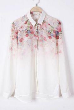 #SheInside White Long Sleeve Floral Chiffon Blouse - Sheinside.com