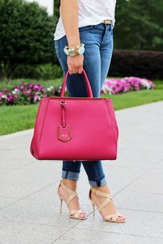 Fendi 2Jours + Jimmy Choo sandals... A foolproof combination to elevate any casual denim look!