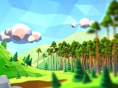 Low-poly landscape fragment (http://www.bogatyrsgame.com/, 2014)