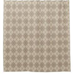Rustic Tan Argyle Shower Curtain