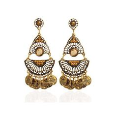 Artificial Gem Coins Bohemian Drop Earrings ($3.38) ❤ liked on Polyvore featuring jewelry, earrings, bohemian jewelry, imitation earrings, gemstone drop earrings, bohemian style jewelry and coin jewelry