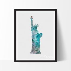 - Description - Specs - Processing + Shipping - Display your love for travel and culture with fun unique watercolor cityscapes, skylines and worldwide travel destinations. Add a fabulous piece of artw New York Theme, Liberty New York, Nyc Art, New York Art, Watercolor Print, Unique Art, Painting Inspiration, Statue Of Liberty, Illustration Art