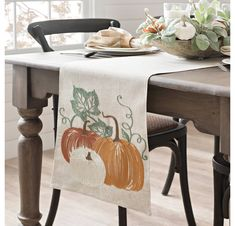 Create a beautiful and elegant dining room design with our Green and Orange Pumpkin Table Runner! This runner will match any style of harvest decor. Elegant Dining Room, Dining Room Design, Kirkland Store, Holly Springs, Harvest Decorations, Fall Wreaths, Autumn Home, Green And Orange, Country Decor