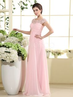 Vestido de noche de gasa rosada con escote redondo de línea A - Milanoo.com Hay muchos colores Dama de honor?
