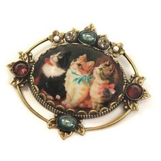 Vintage Christmas Kittens Pin