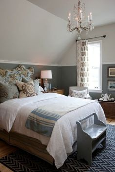 Bedroom inspiration- I like the molding splitting the colors in half.... Uh oh!