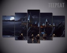 Harry Potter's Hogwarts School of Witchcraft and Wizardry - 5 Piece Canvas-Canvas-TEEPEAT  #prints #printable #painting #canvas #empireprints #teepeat