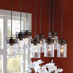 Shop allen + roth Vallymede 25.47-in Aged Bronze Country Cottage Multi-Light Clear Glass Jar Pendant at Lowes.com
