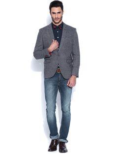 9c72be5d589 Buy HARVARD Grey Single-Breasted Woollen Blazer online