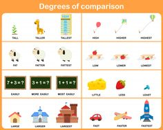 Illustration about Degrees of comparison adjective : Worksheet for education. Illustration of kite, activity, least - 59296397 Adjective Anchor Chart, Adjective Worksheet, English Grammar, Teaching English, English Test, English Language, Adjectives Activities, Class Activities, Degrees Of Comparison