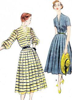 1950s Dress Pattern Simplicity 8251 Front Button Full Skirt Dress Shirtdress Shirtwaist Dress Womens Vintage Sewing Pattern Bust 32