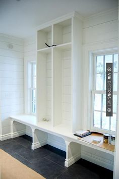 Wow - Vintage style farmhouse  - perfect mudroom idea, I can work around the existing windows. | CHECK OUT MORE MUDROOM FURNITURE IDEAS AT DECOPINS.COM | #Mudrooms #mudroom #mud #mudroomfurniture #whatisamudroom #mudroombench #mudroomdecoration #mudroompaint #mudroomdesign #mudroomideas #mudroomlockers #mudroomstorage #mudroomcabinets #mudroomhooks #mudroomcubbies #mudroomcloset #mudroomshoestorage #mudroomcoatrack #mudroomlighting #smallmudroom #mudroomentry