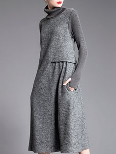 Buy Sweater Dress For Women from Fanny.Wiz at Stylewe. Online Shopping Stylewe P. Buy Sweater Dress For Women from Fanny.Wiz at Stylewe. Online Shopping Stylewe Plus Size Gray Sweater Dress Shift Daytim. Trendy Dresses, Fall Dresses, Plus Size Dresses, Casual Dresses, Midi Dresses, Grey Sweater Dress, Sweater Dresses, Turtleneck Dress, Dress Clothes