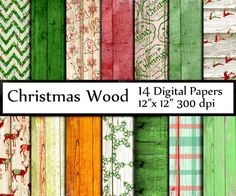 "Christmas wood digital papers: ""RUSTIC WOOD PAPER"" Shabby chic wood  Country Distressed wood Xmas pattern Wood background wood grain pattern"