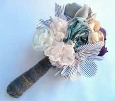 Fabric Flower Bouquet Vintage Wedding Shabby Chic by SewManyPetals, $125.00
