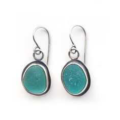 Aqua sea glass earrings by Tania Covo