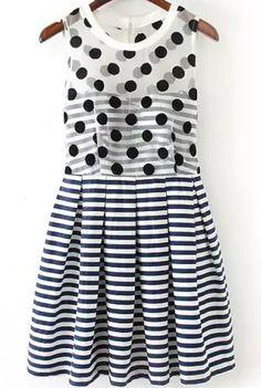 Sleeveless Polka Dot Striped Dress
