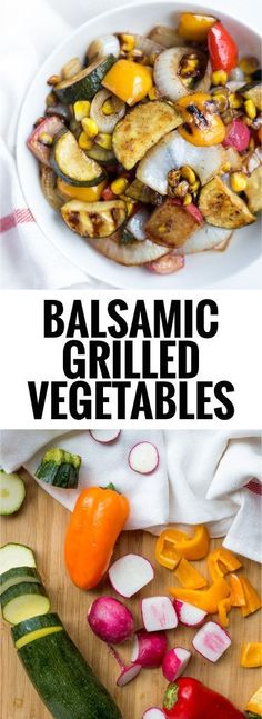 Balsamic Grilled Vegetables: a quick and easy way to enjoy summer veggies as a main or side! The marinade requires only 5 ingredients, and it's gluten free & vegan! http://www.fooduzzi.com/2016/08/balsamic-grilled-vegetables/