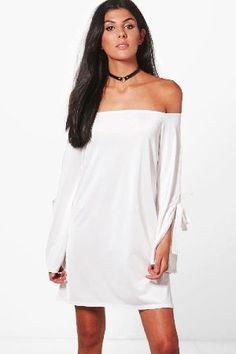 ab27a3d793f3  boohoo Off Shoulder Sleeve Detail Swing Dress - white  Mallory Off  Shoulder Sleeve Detail