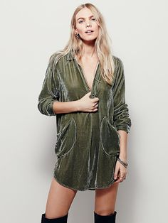 Cozy Velvet Shirt Dress | Super luxe long sleeved collared shirt dress featuring exposed hip pockets, rounded hem and side vents.