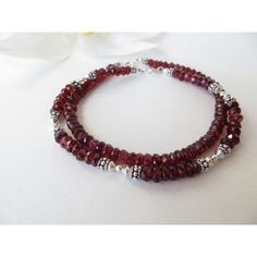 Garnet Bracelet, Friendship Bracelet, January Birthstone Bracelet,... ($28) via Polyvore featuring jewelry, bracelets, semi precious stone jewellery, gemstone jewelry, semi precious gemstone jewelry, sterling silver jewellery and red jewelry