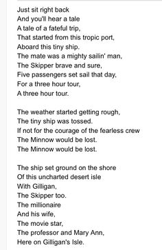 Gilligan's Island theme song!!!