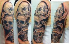 See no evil, Hear no evil, Speak no evil skull tattoo design (19)