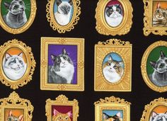 Cats in Frames Cotton Black