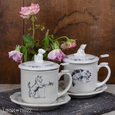 These charming little tea sets are a perfect fit for pet lovers extraordinaire! Each set comes with a tea cup, saucer, lid, and loose leaf tea infuser. We love the quaint floral designs and whimsical artwork! It matters not where your love lies, puppy or kitten, both wait patiently for tea-time with you! Explore our entire collection of home decor, gifts and jewelry to lavish your heart, your soul and your home!