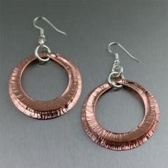 Hip Copper Fold Formed Hoop Earrings #CopperJewelry #7thAnniversary http://www.copperanniversarygifts.com/product/copper-fold-formed-hoop-earrings/