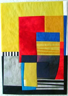 """Resolve Hand dyed cottons, commercial stripe, silk, fused, machine quilted. 11.5 x 16"""""""