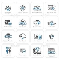 Flat Design Protection And Security Icons Set. — JPG Image #computer #illustration • Available here → https://graphicriver.net/item/flat-design-protection-and-security-icons-set/15541266?ref=pxcr