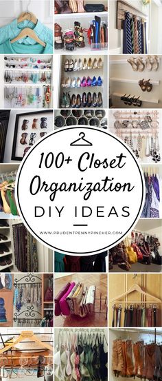 Organize your closet for less with these DIY organization and storage ideas. Many of these closet organization ideas are great for small closets and maximizing space. There are a hundred budget-friendly closet organization ideas for