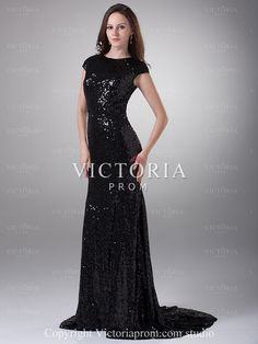 Elegant Black Mermaid Long With Train Sequin Cap Sleeve Prom Dress - US$119.69 - Style P0862 - Victoria Prom