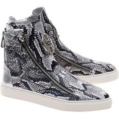 THE NO ANIMAL BRAND Reptex Bloque Snake // High-top patterned sneakers (3 625 UAH) ❤ liked on Polyvore featuring shoes, sneakers, high top sneakers, snake print sneakers, print sneakers, python sneakers and snake shoes