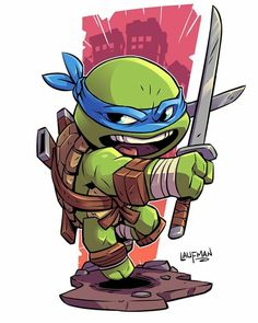 Leonardo the Ninja Turtle Cartoon Kunst, Cartoon Art, Cartoon Characters, Chibi Marvel, Chibi Superhero, Teenage Mutant Ninja Turtles, Teenage Turtles, Comic Art, Illustration