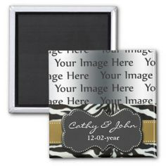 chic gold zebra stripes photo Save the date magnet
