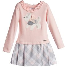 Mayoral Girls Pale Pink Knitted Dress with Check Skirt at Childrensalon.com