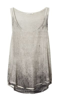 White and grey distressed vest top