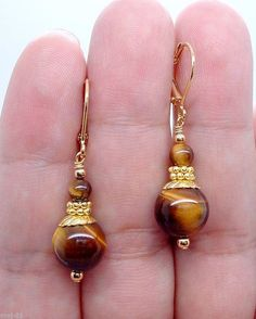 $1.99 - Handmade Beautiful Yellow Tiger's Eye Gemstone 6-12Mm Earring Aaa #ebay #Fashion
