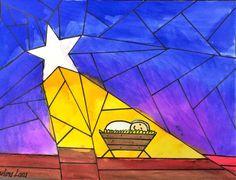 Nativity Star of Light Art Lesson for kids - Leah Newton Art