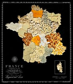 Food maps: France map made out of bread and cheese, by artists Henry Hargreaves and Caitlin Levin #map #france