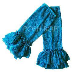 Ruffle Lace Leg Warmers - Newborn Baby Infant Girls Toddler (Blue) $7