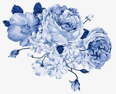 꽃잎,꽃,청화 백자,파란색
