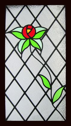 RAMBLING ROSE Victorian Stained Glass Window Long Panel. circa 1901