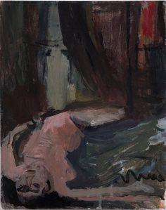 """Janice Nowinski - Upside Down Nude 14""""x11"""", oil on board, 2013"""
