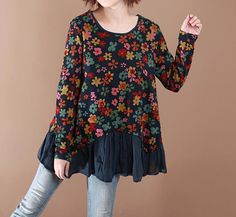 Loose round neck long sleeved shirt by MaLieb on Etsy